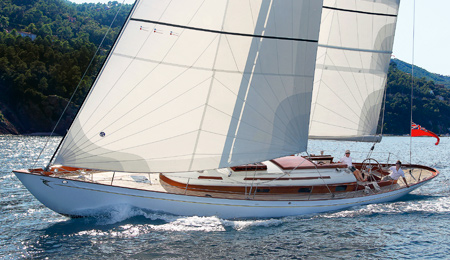 The fife inspired Fairlie 55 enjoys a sail in Cannes bay