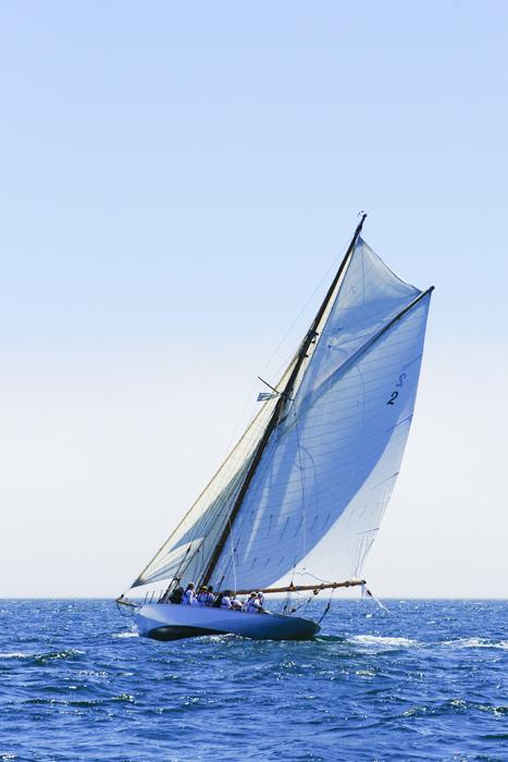 Kelpie restored at Fairlie yachts under sail in the Mediterranean