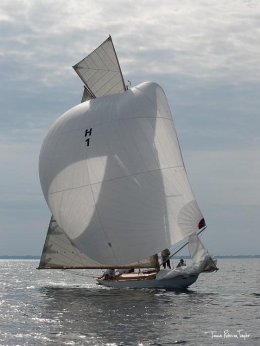 Fife designed 8 metre Lucky Girl under restoration at Fairlie Yachts