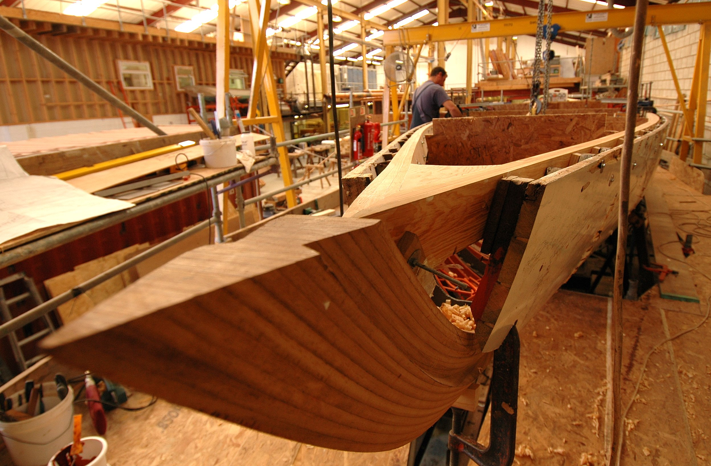 The new bow of the 8 Metre Lucky Girl restored by Fairlie Yachts