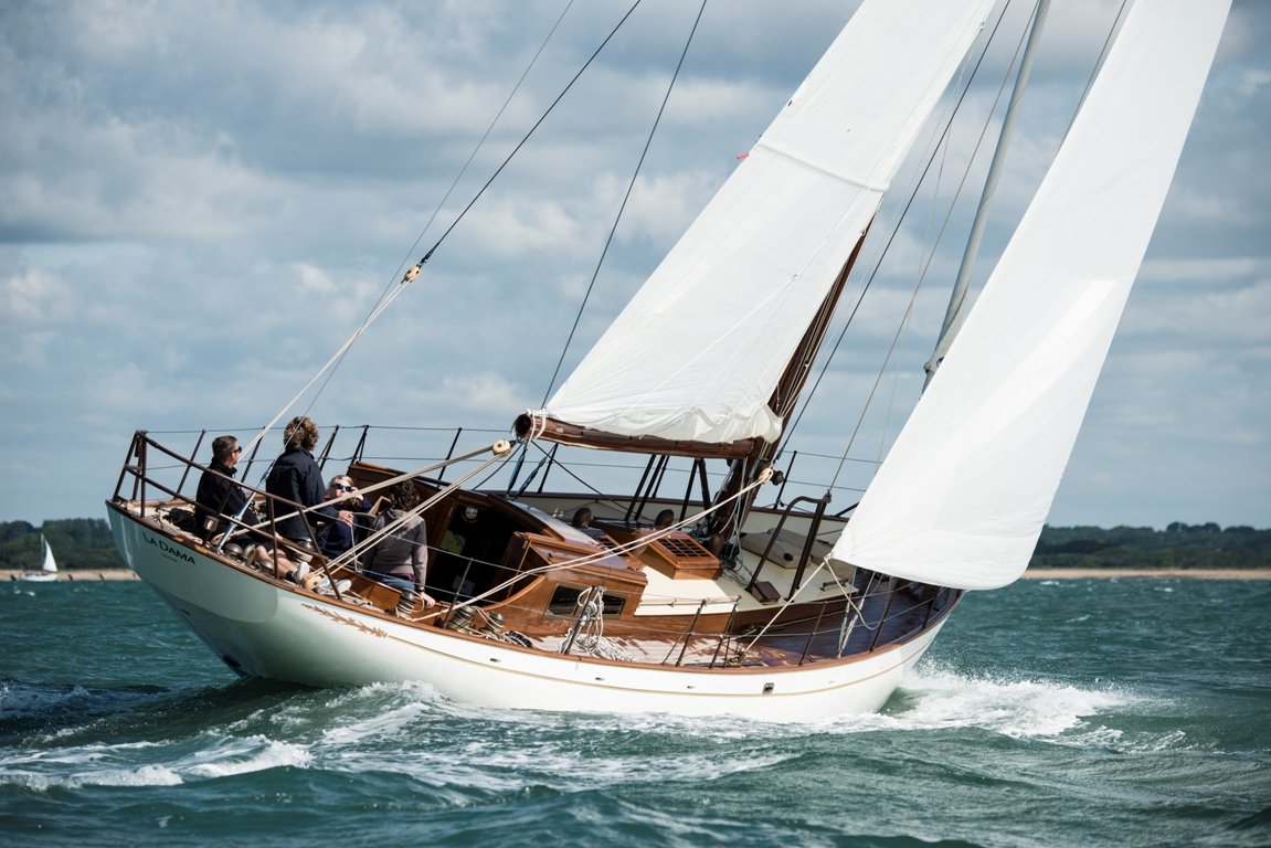 Fairlie 53 on port tack, trials in the solent