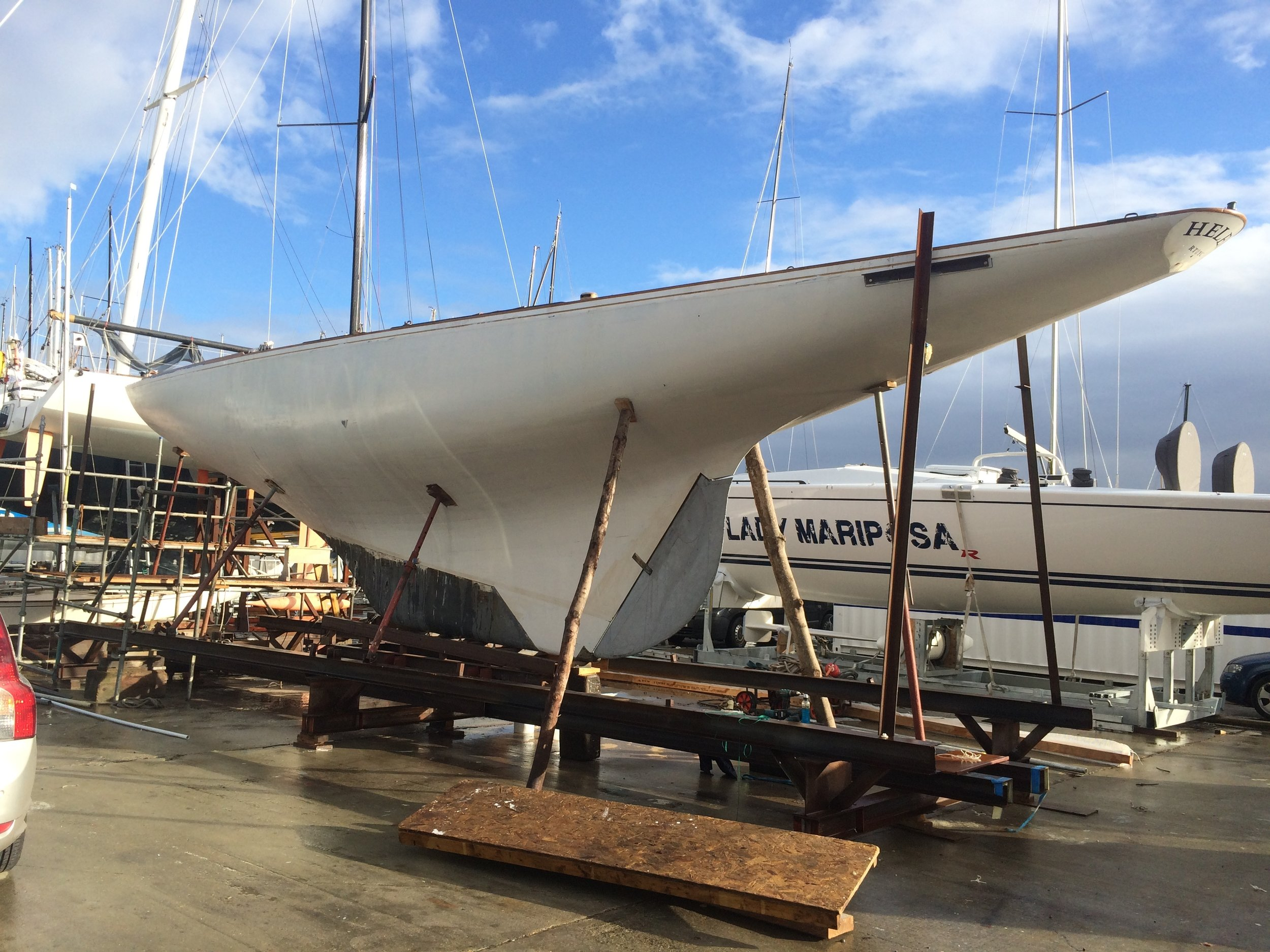 The Mylne 8Metre Helen comes out of the paint shop