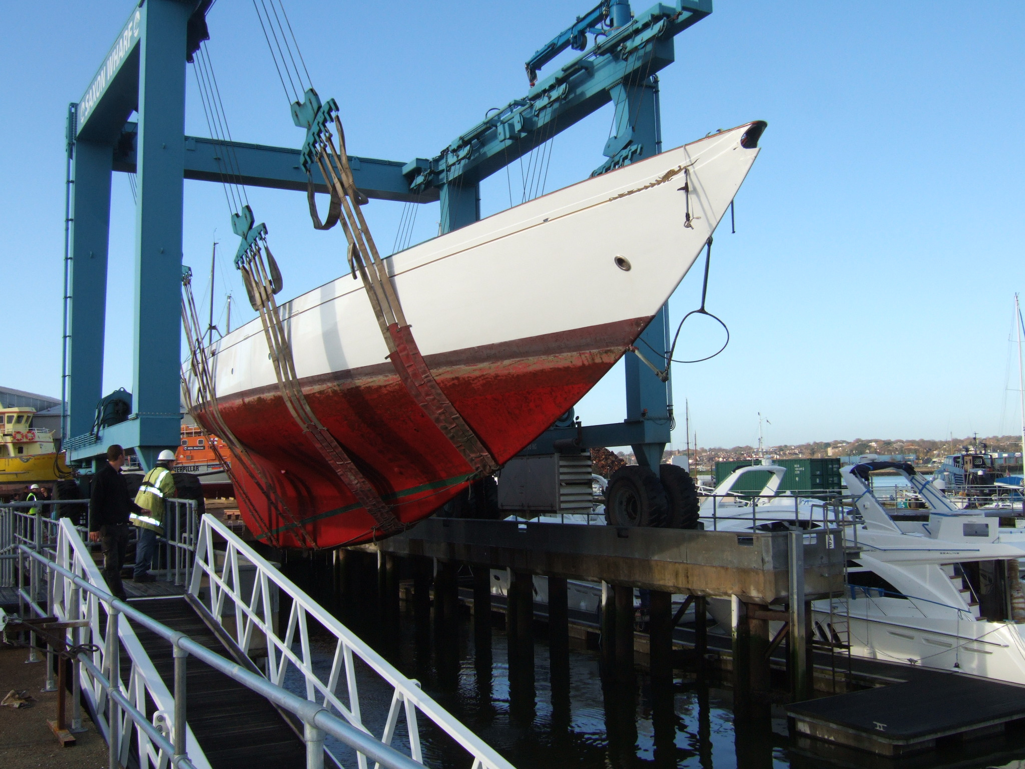 Schooner Altair comes to Saxon Wharf to undergo work by Fairlie Yachts