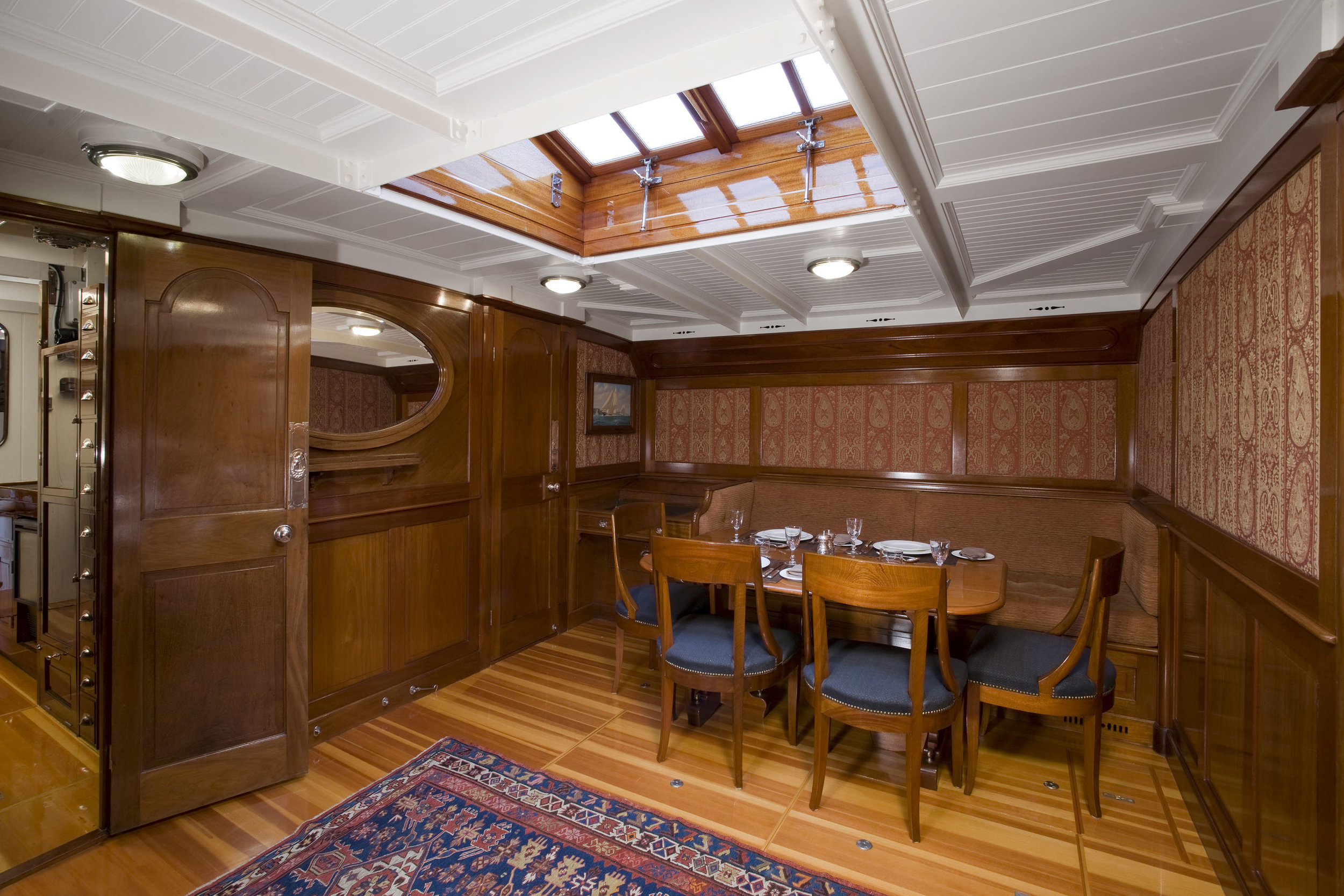 Mariquita's new saloon in Brazilian mahogany after restoration at Fairlie Yachts