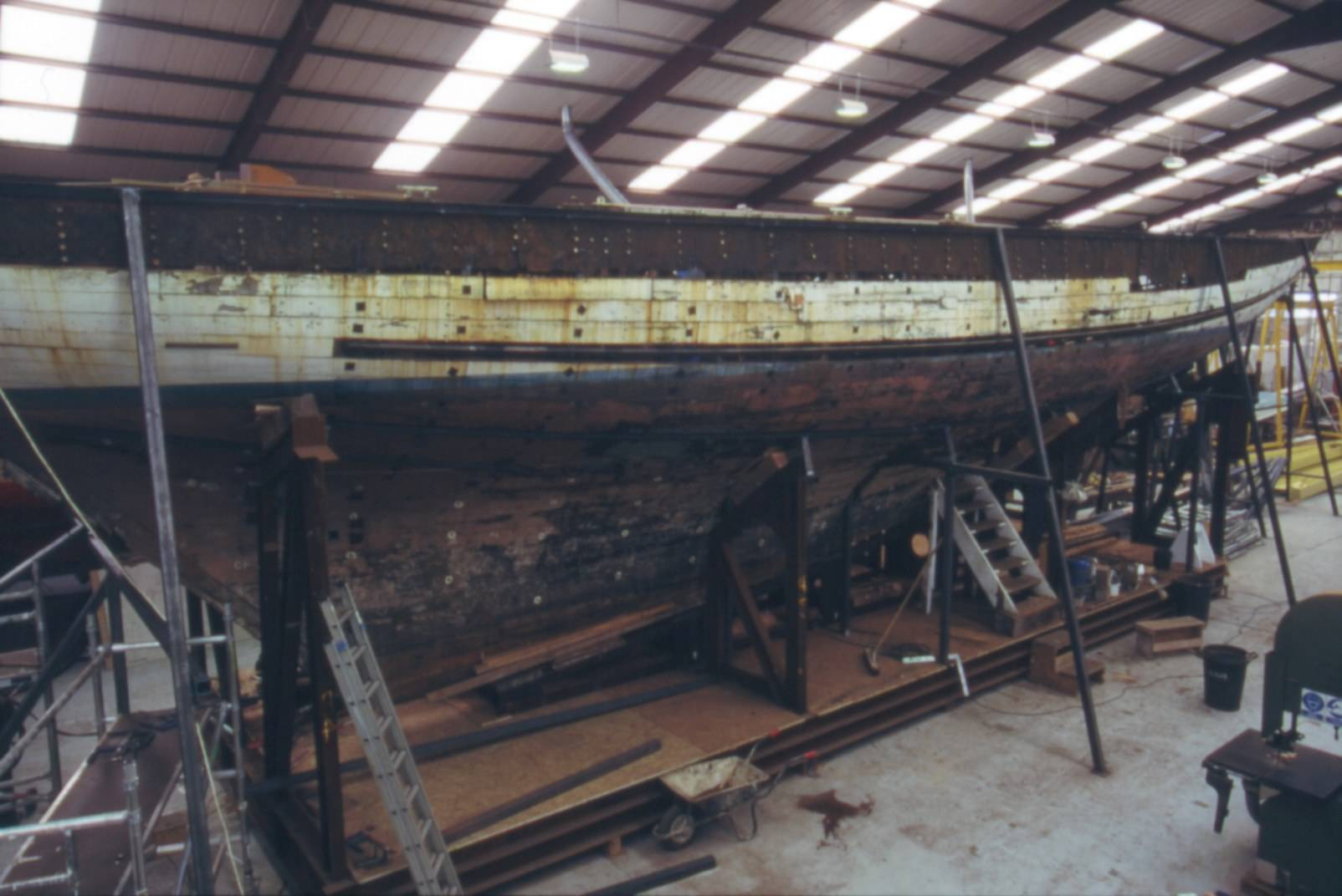 The Fife designed Mariquita awaiting restoration at Fairlie Yachts in Hamble