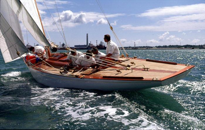 Morgan Giles 8M Siris after restoration at Fairlie Yachts