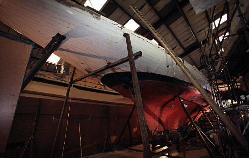 The Lady Anne awaiting restoration at Fairlie Yachts