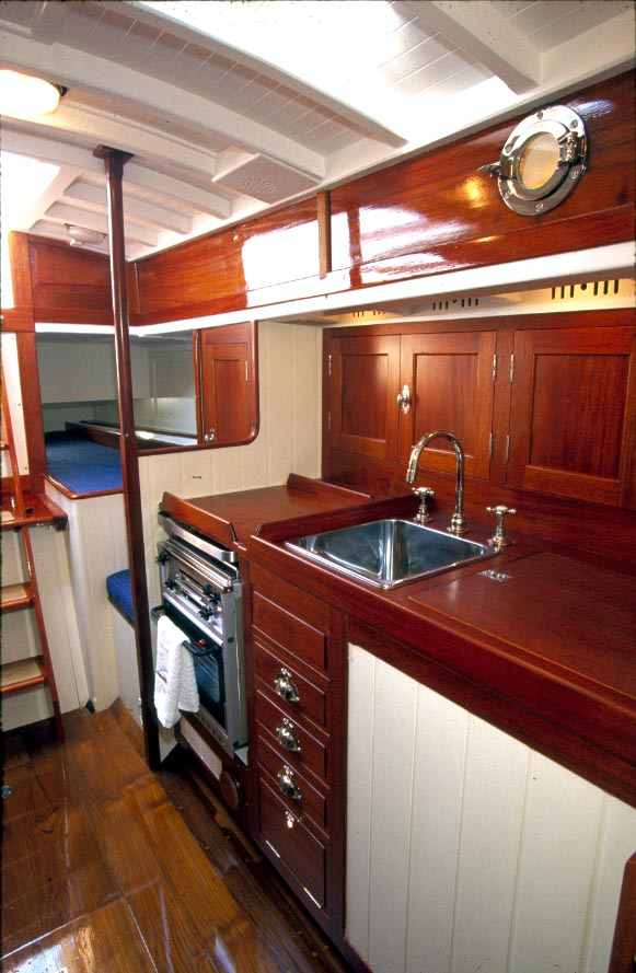 The generously sized galley of Madrigal M restored at Fairlie Yachts