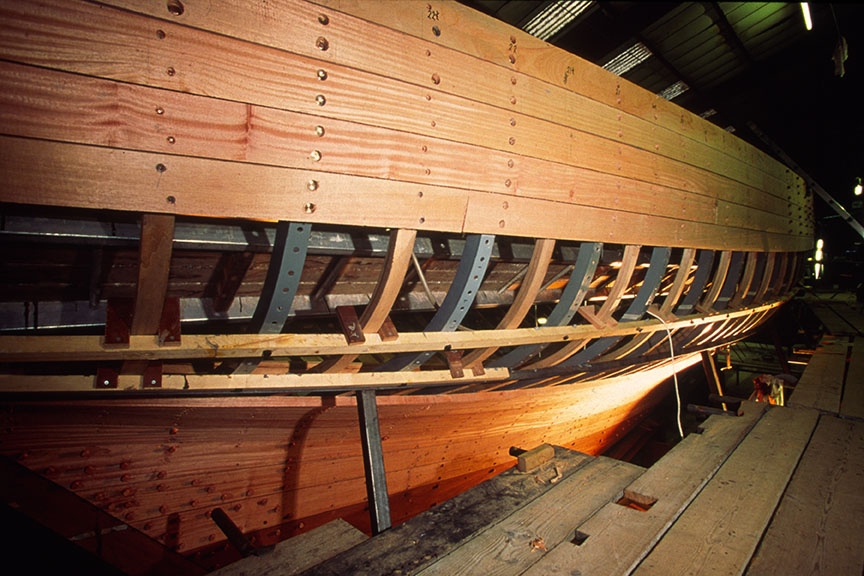 Fife 15M Tuiga re-planking at Fairlie Yachts