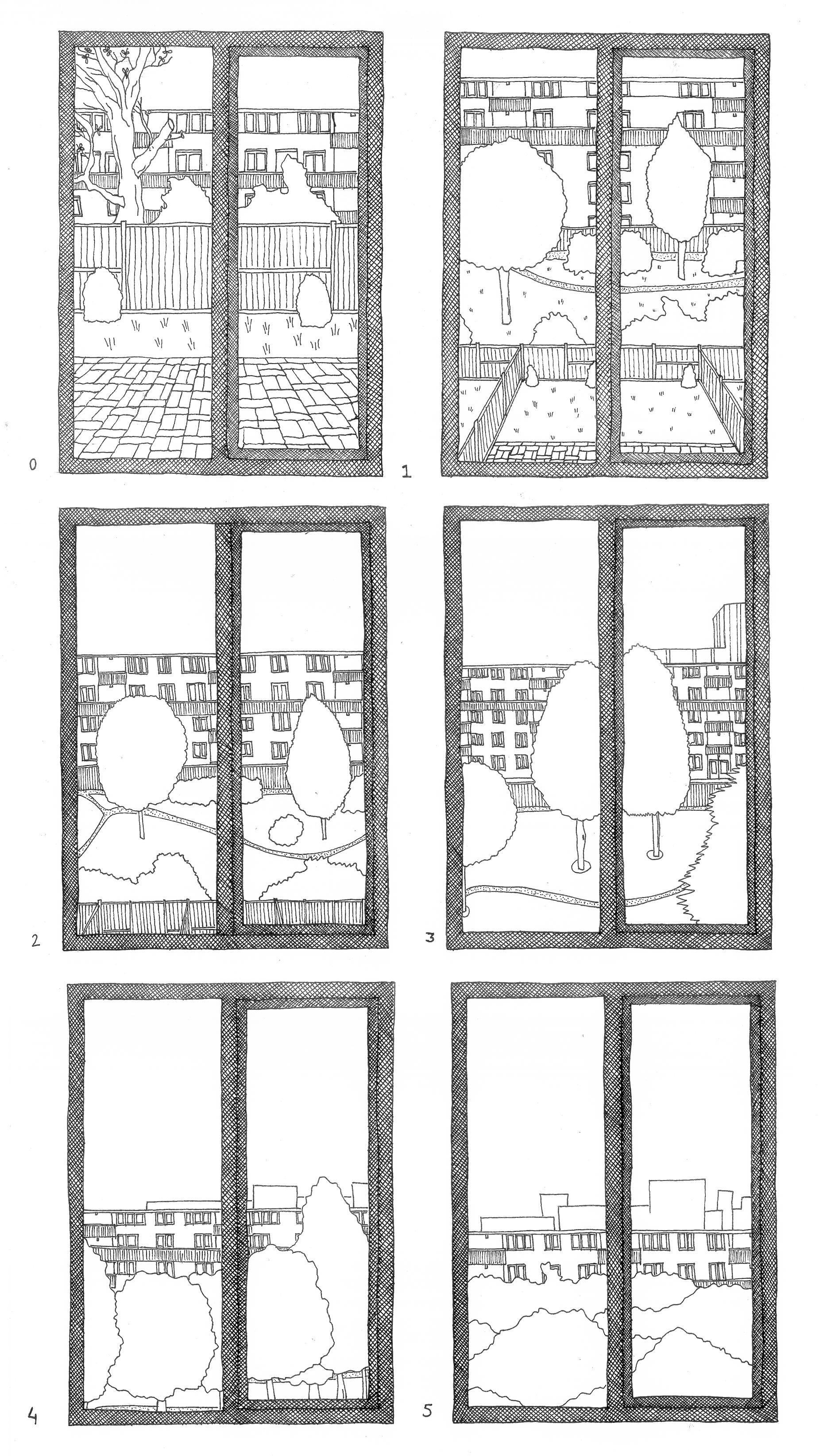 uitzicht vanaf verschillende verdiepingen van het Rottekwartier