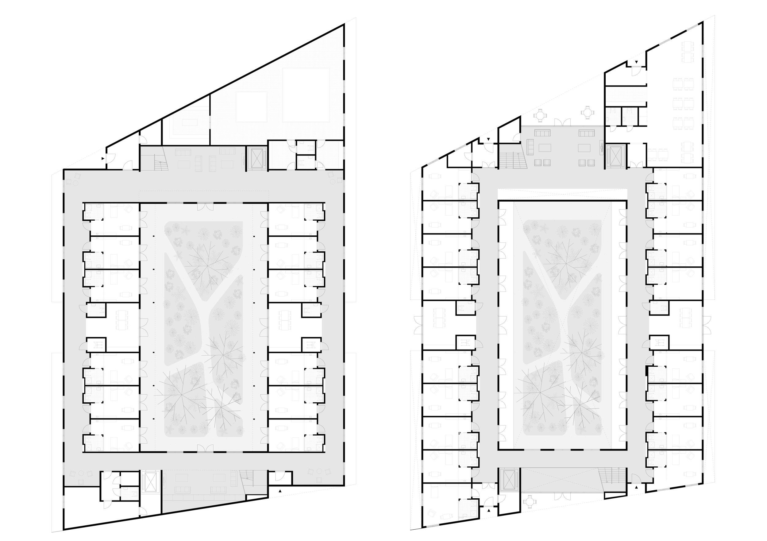 Plattegronden begane grond en 1e verdieping