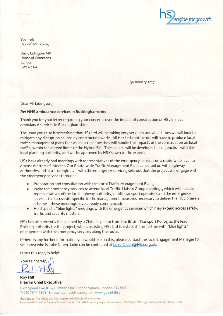 David received a reply from the interim Chief Executive of HS2, in response to letter raising concerns over the potential impact of HS2 on ambulance services.