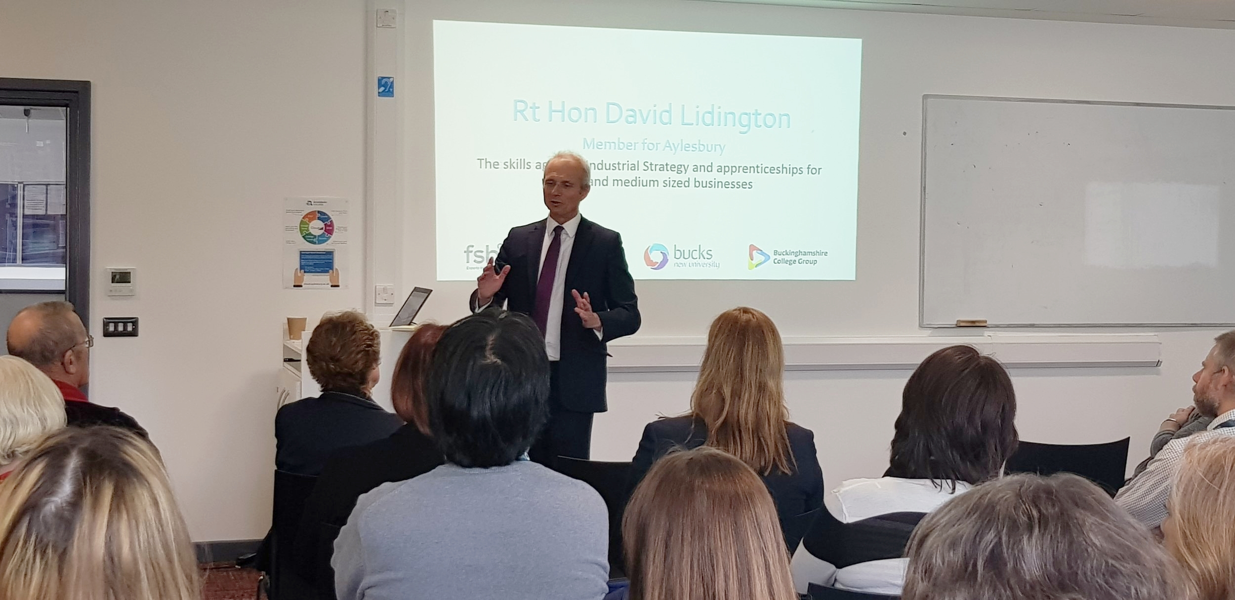 David Lidington MP talks to business owners at University Campus Aylesbury Vale