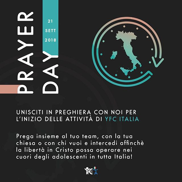 Vuoi e puoi pregare per noi? Nella descrizione troverai il link con tutto il materiale per passare insieme a noi, ovunque tu sia, una giornata di preghiera per il ministero di YFC Italia!  Would you like to pray for us? Here below is the link with all the material to spend with us, wherever you are, the Prayer Day for YFC Italia's ministry!  https://bit.ly/2pb3eDI