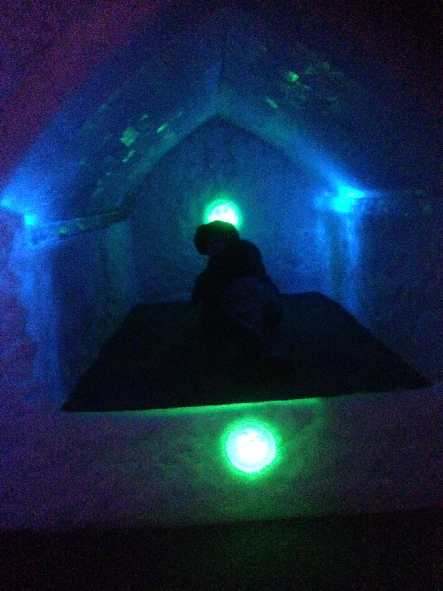 Kristi laying on an ice bed