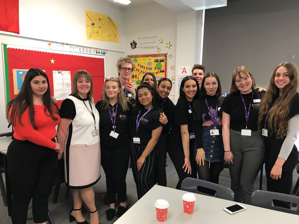 The StressLess Champions group at Nene Park Academy with teacher Mrs Lawrence (and Elisa at the back)