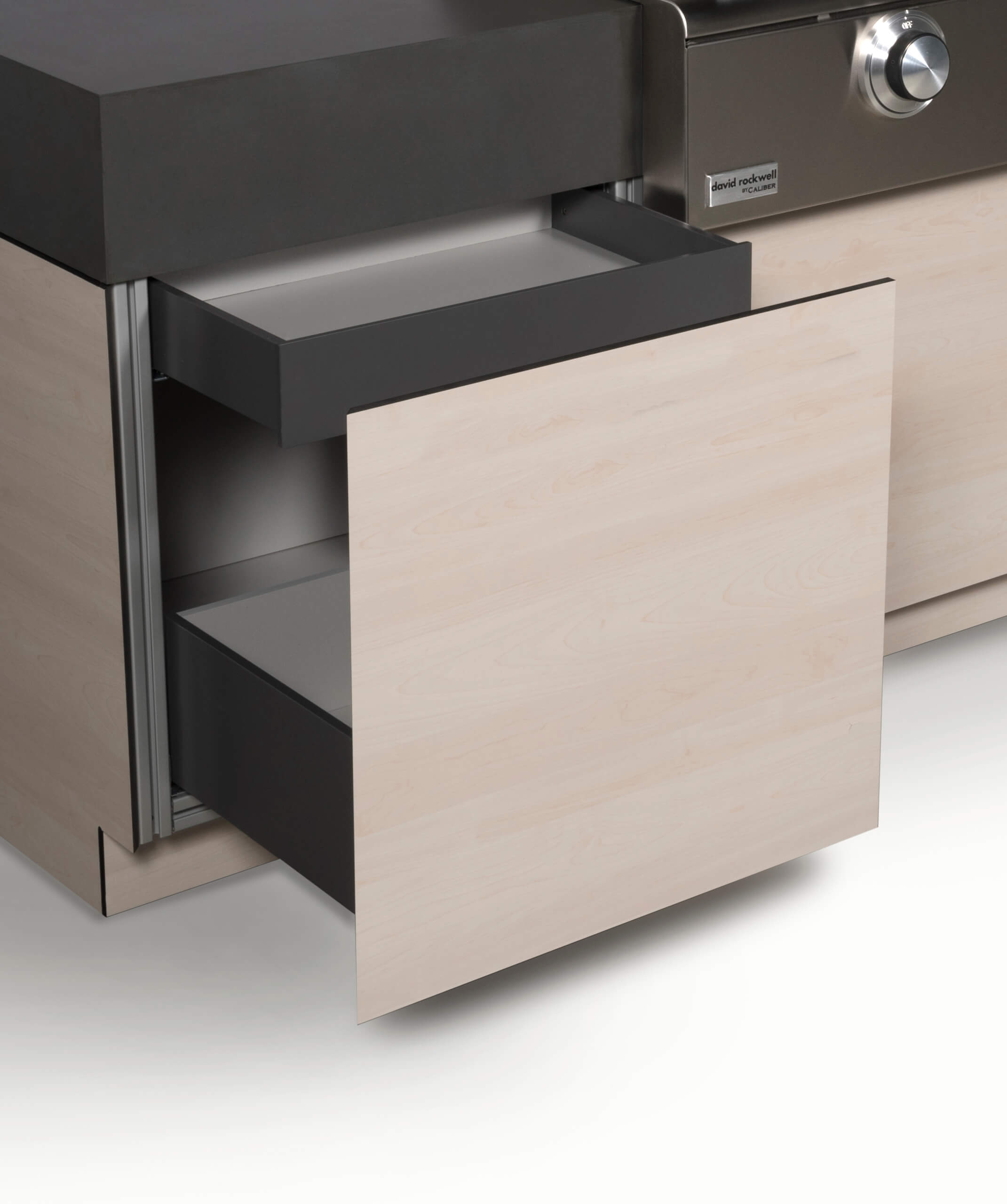 PULL OUT BIN WITH INSET DRAWERS FOR STORAGE AND CUTLERY