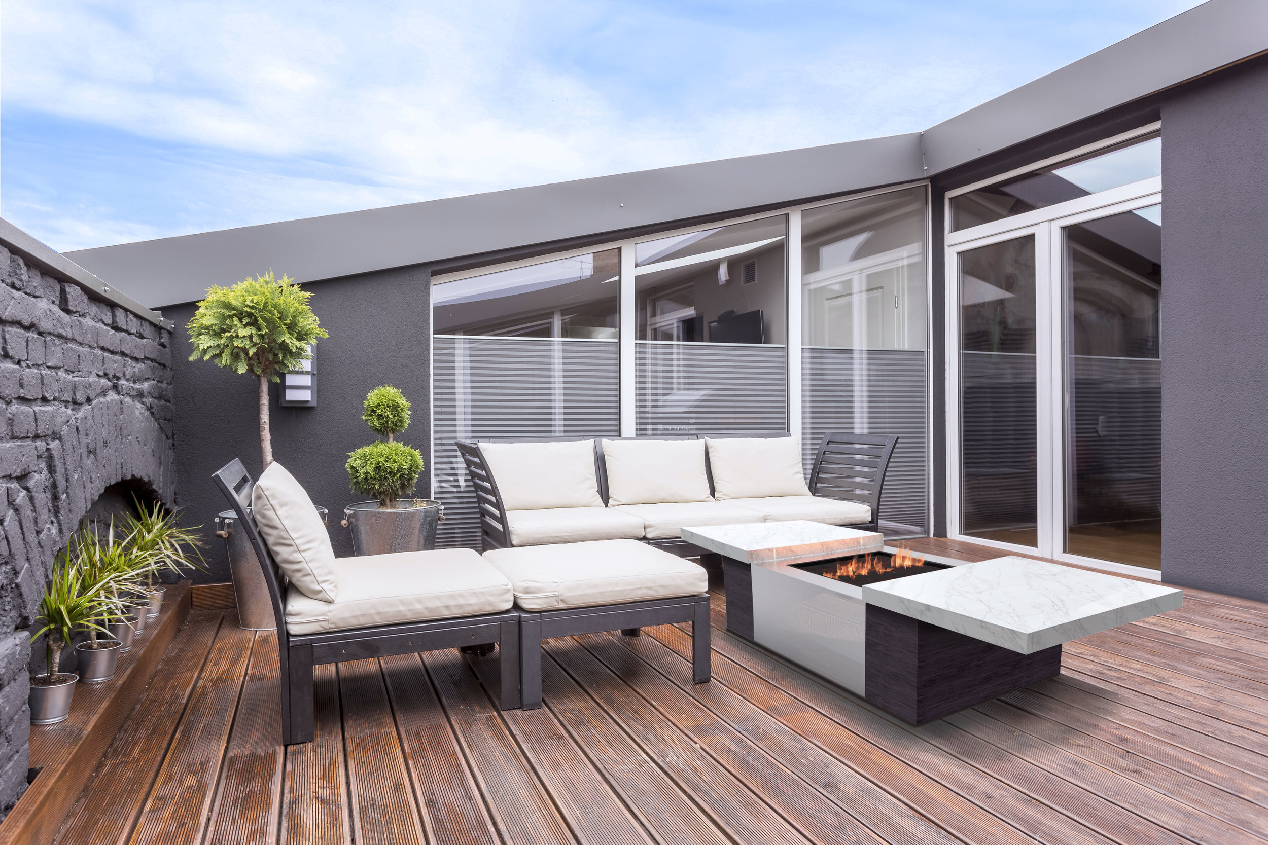 Simple terrace with grill