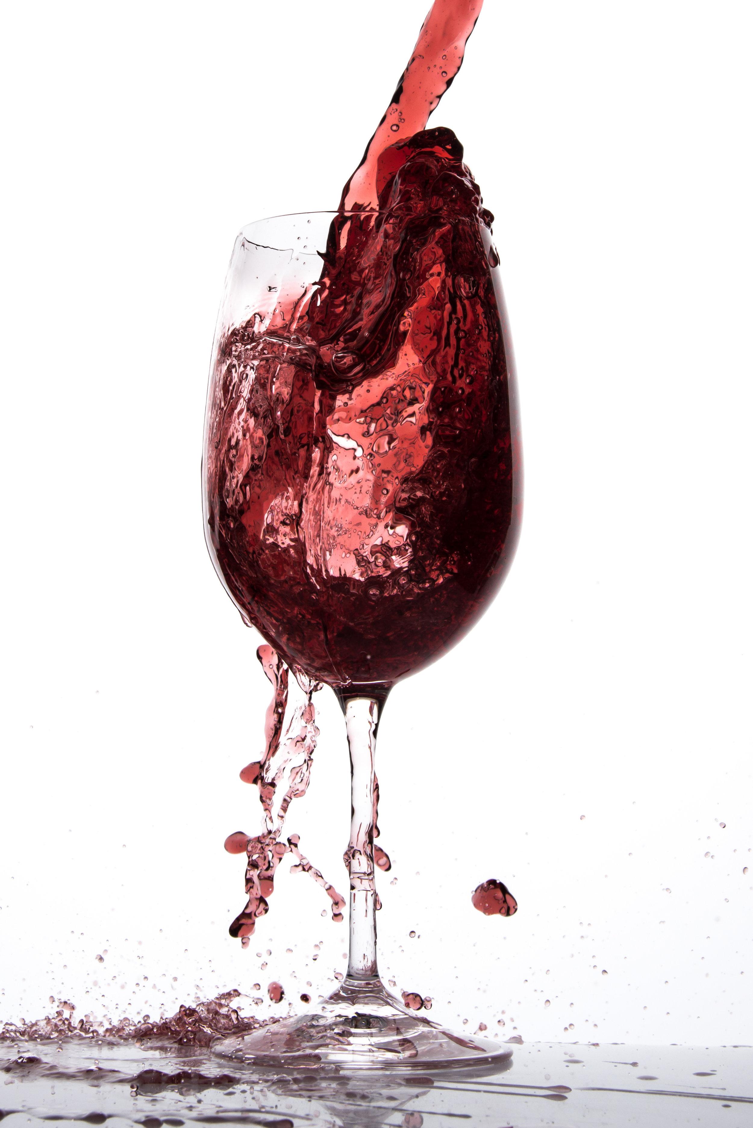 Wine glass full of wine