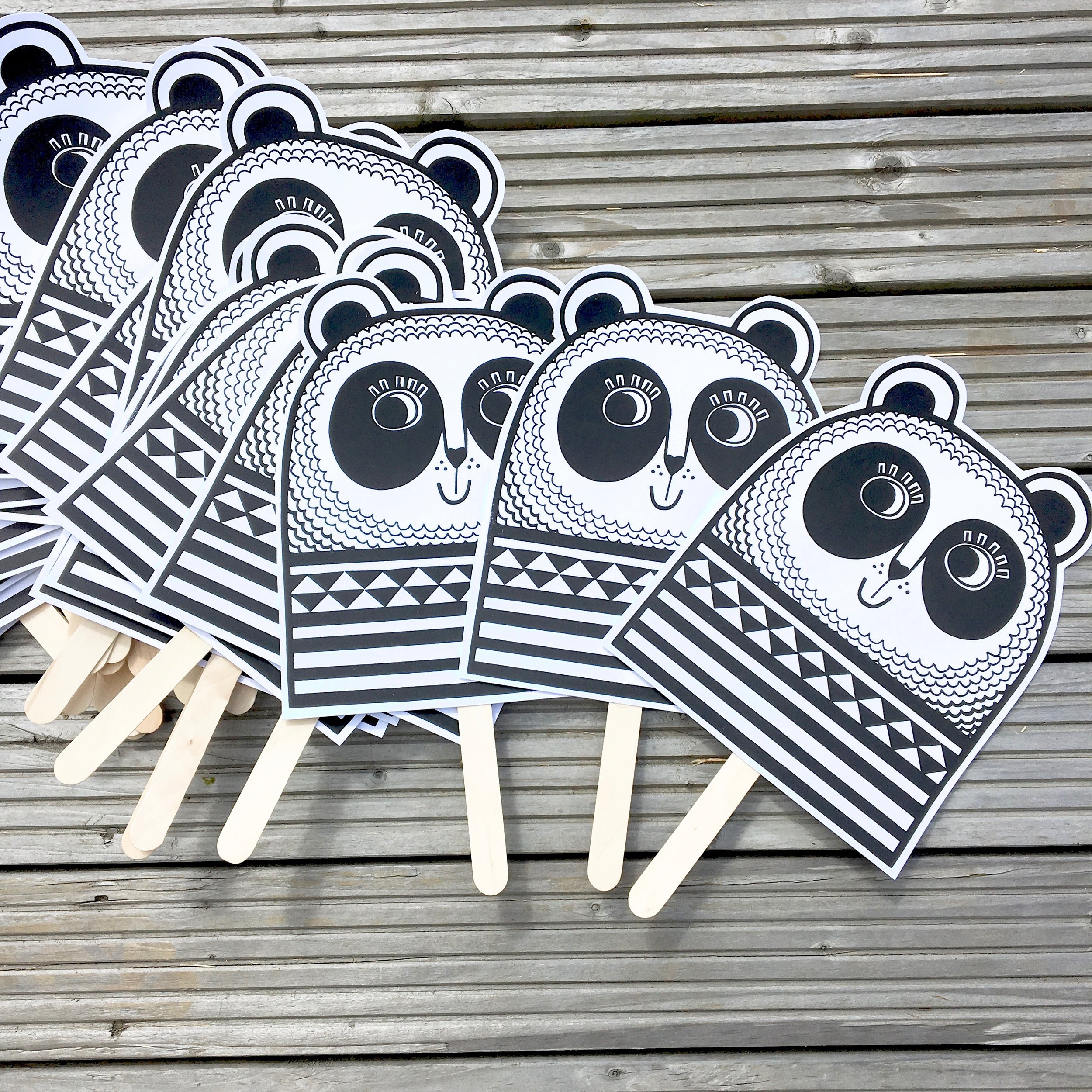 Screen printed Panda masks for my workshop