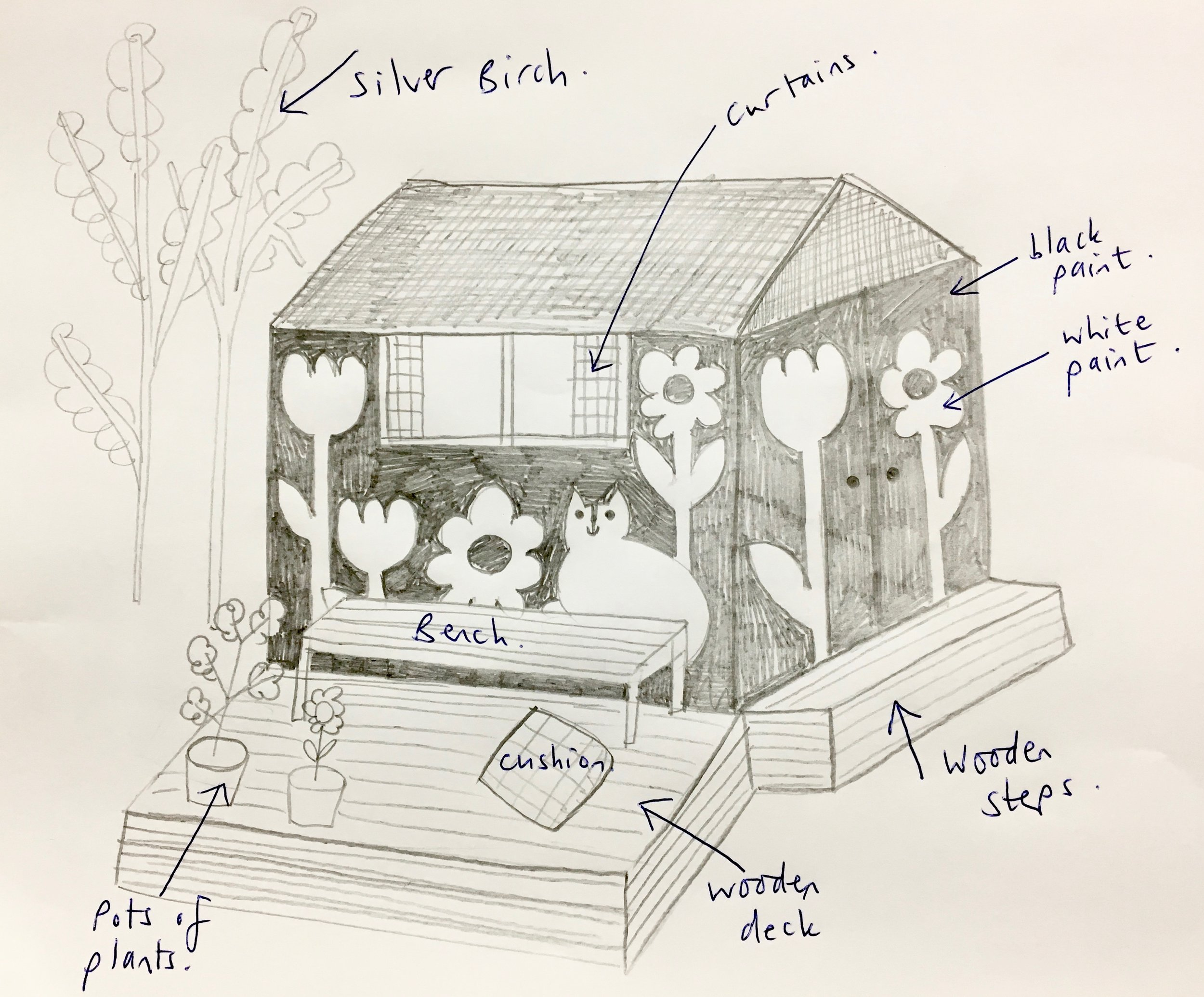 My pencil sketch of how I initially wanted my den to look.