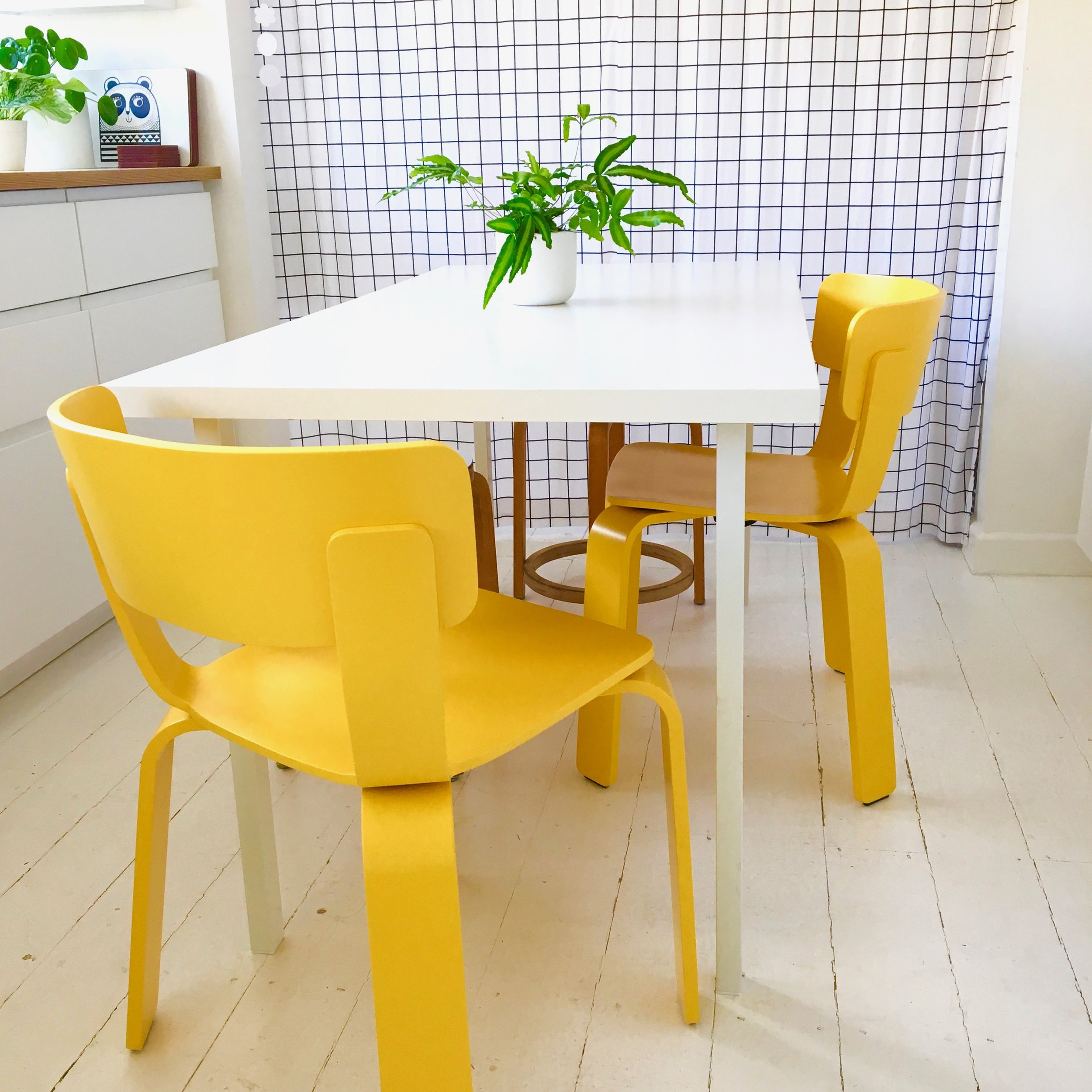 Our yellow Bento chairs in the kitchen