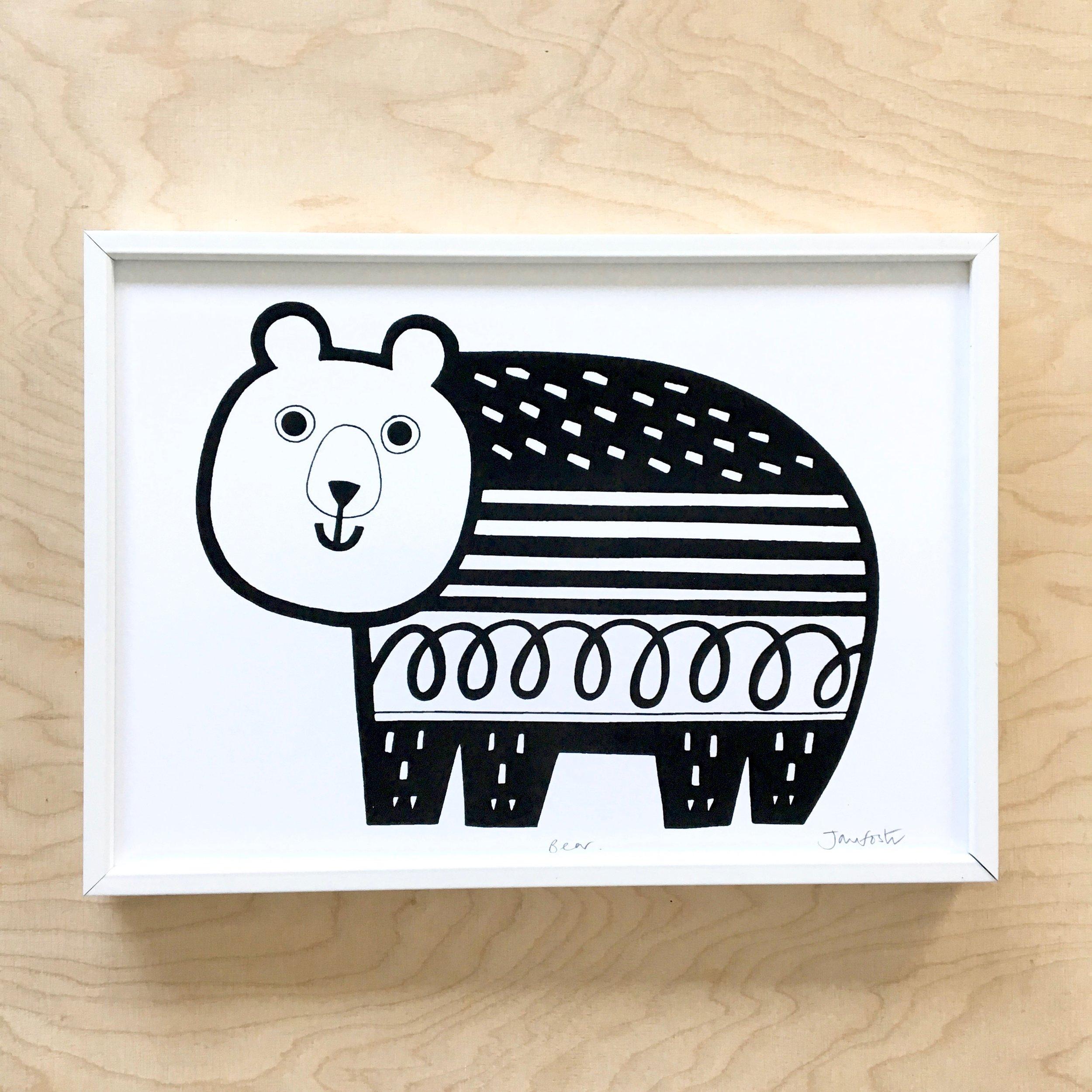 My new bear screen print
