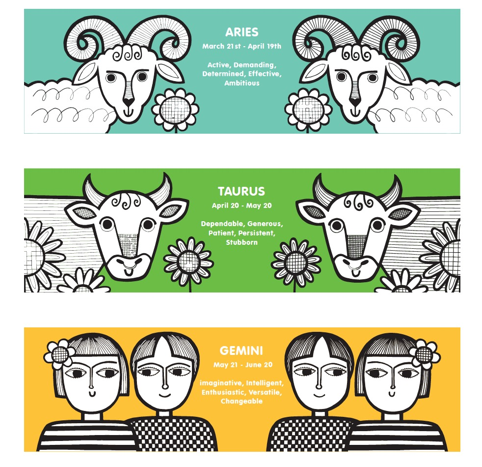 Some of my zodiac mug designs.