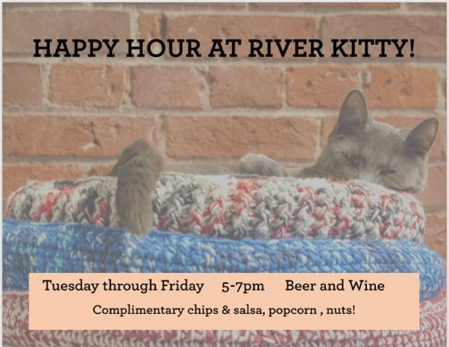 Come see us after work! #happyhour #downtownevansville #riverkittycatcafe #snacks 🍷🥃🥤🥂🍻🍺🍷