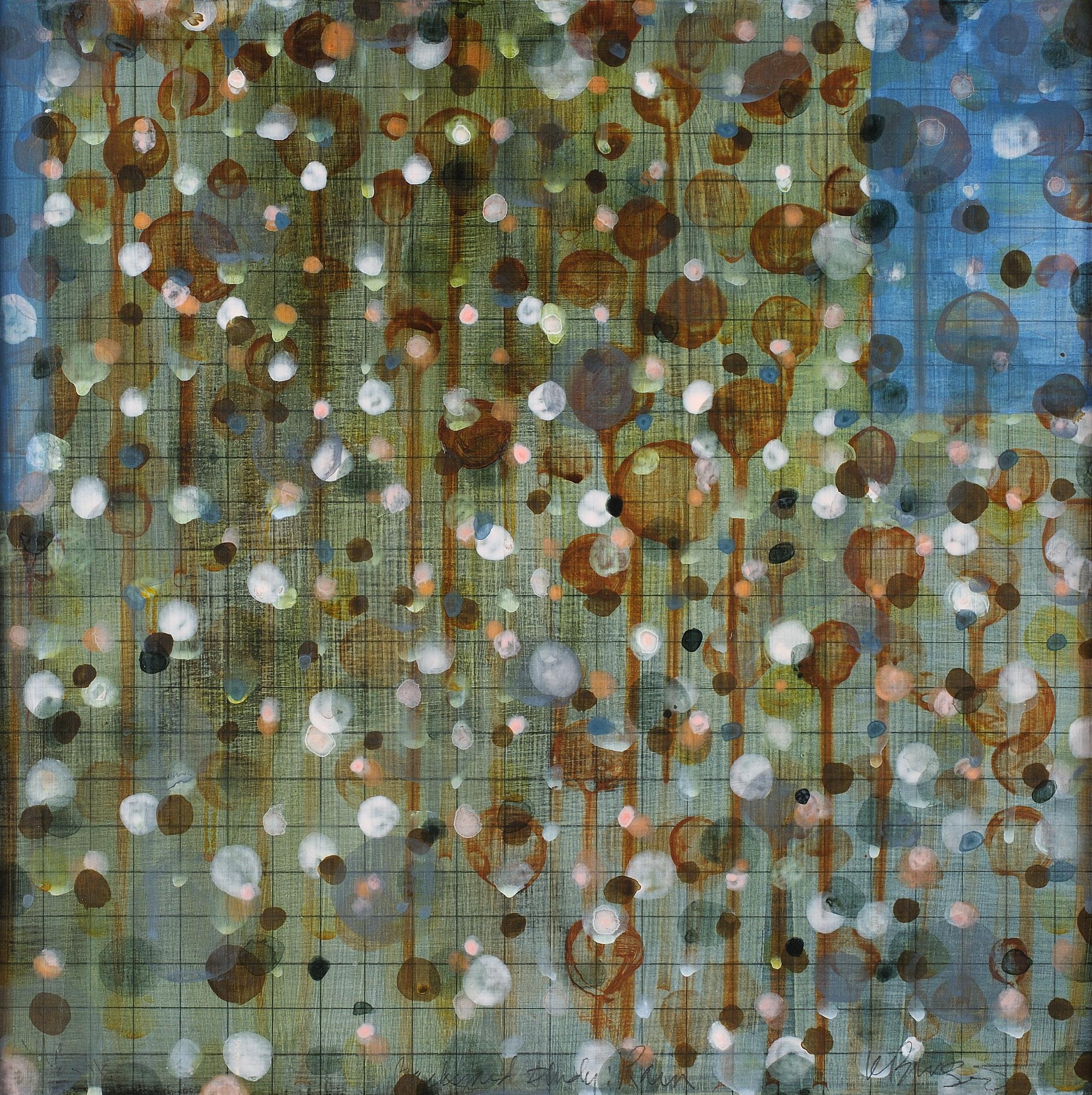 """Backyard Study: Rain"" 12X12, acrylic, graphite on wood, 2016"