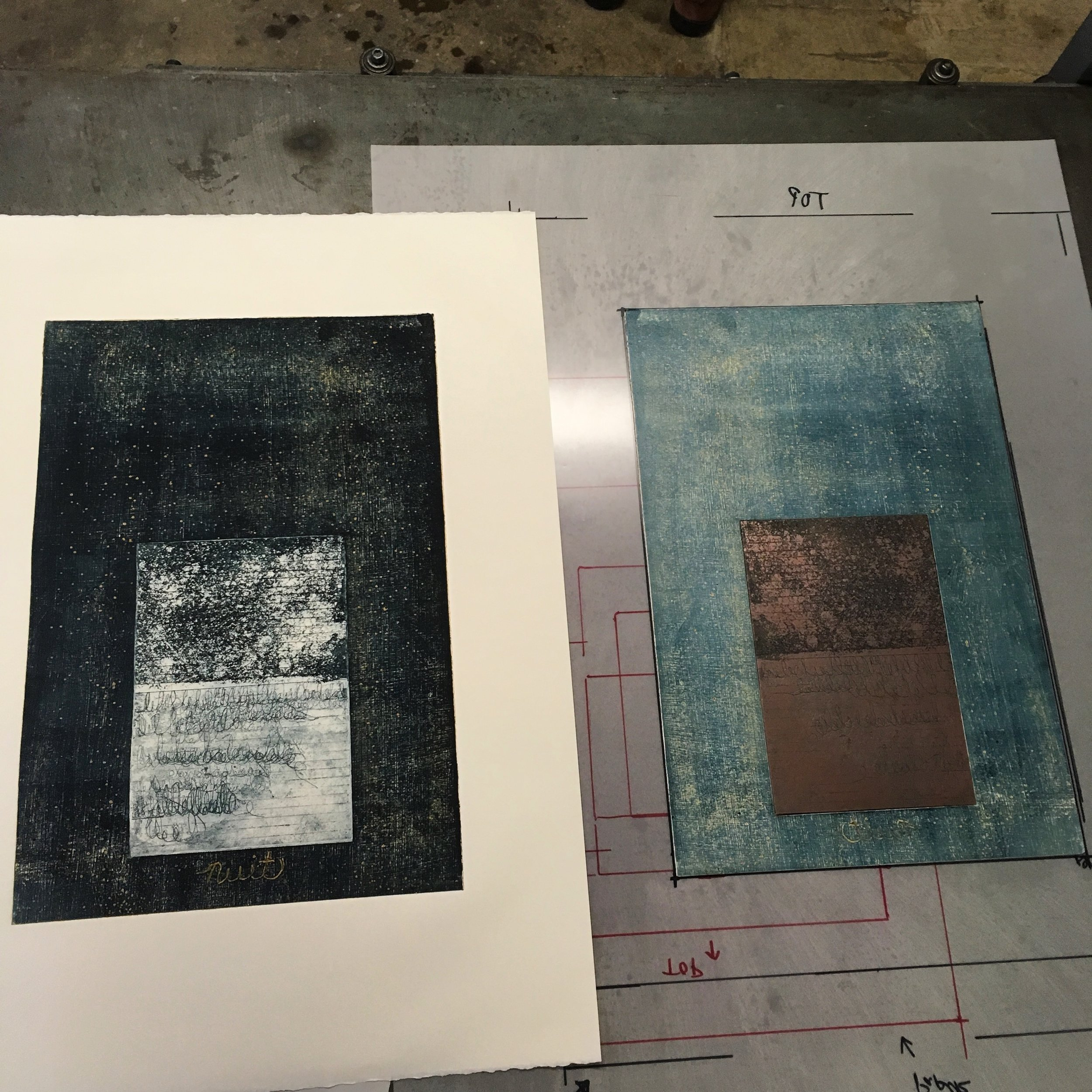 """Nuit"" etching and collograph by Kimberley Bursic"