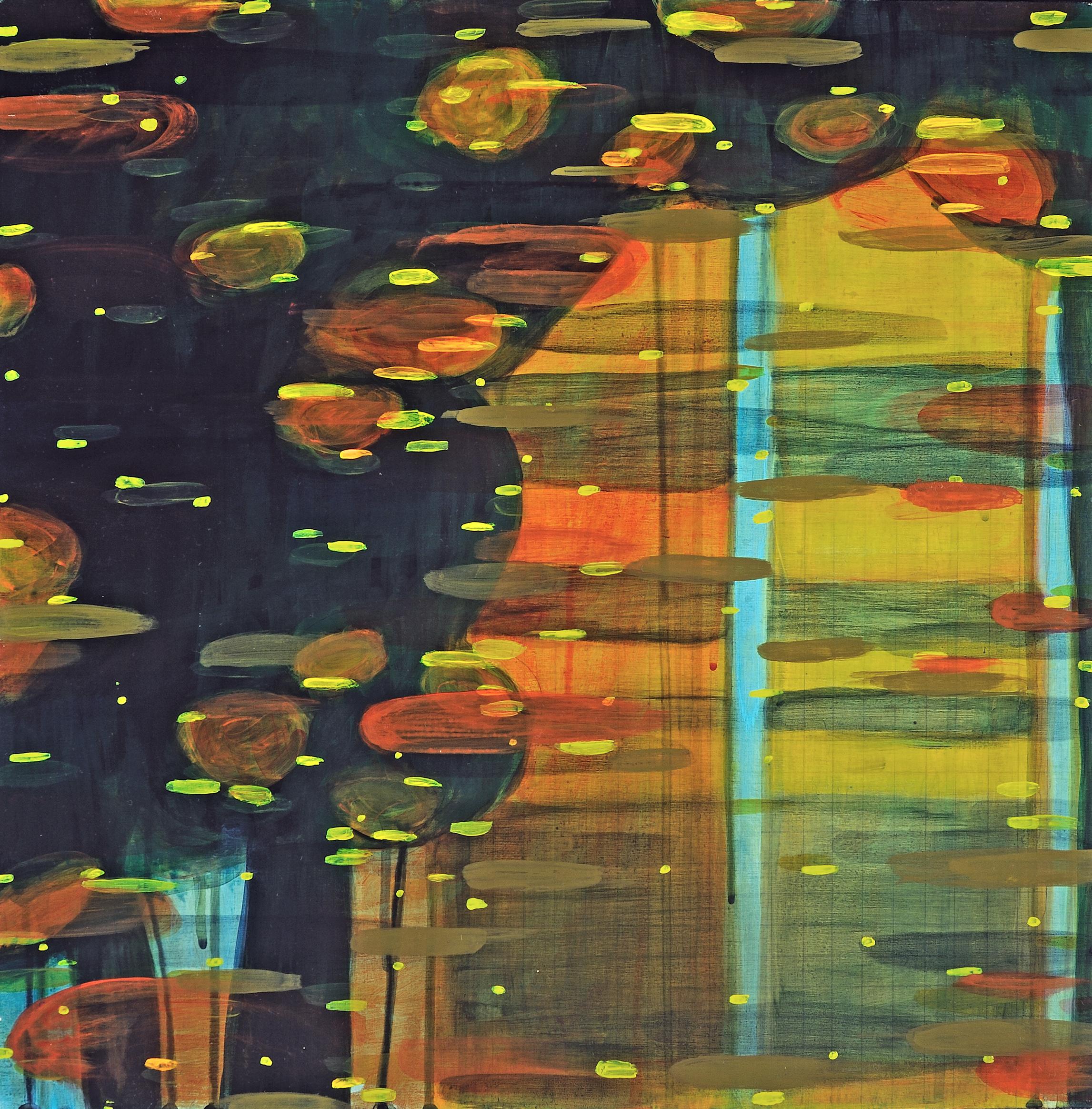 """""""Rock Creek Study #1-reflection"""" acrylic on wood, 18X18, 2017"""