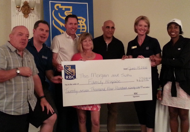 Cheque presentation by RBC   Pictured left to right: Kevin Morgan, Paul Keppen, Dr. Steven Russell, Gail Guimond, Dave Sidhu, Lynette Gillen & Nneka Bowen