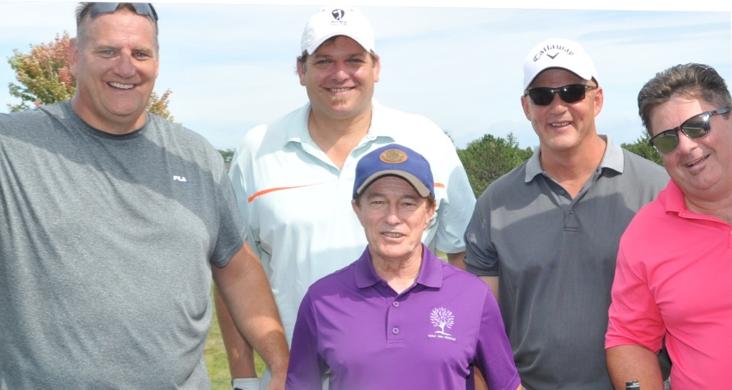 Don Petit, John Druce, Bill McDermott & Jim Closs towering over Sandy Hawley