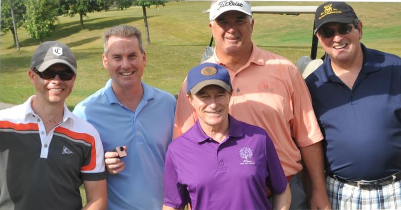 Steve Gray, Shawn Gravelle, Tim McGill & Chuck Mercier with Sandy Hawley