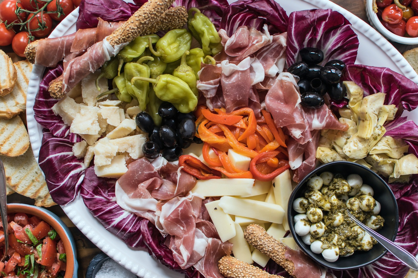 Prolific and traditional food cultures, like the diets of the Mediterranean (example pictured above), use meat but sparingly and celebrate local diversity.