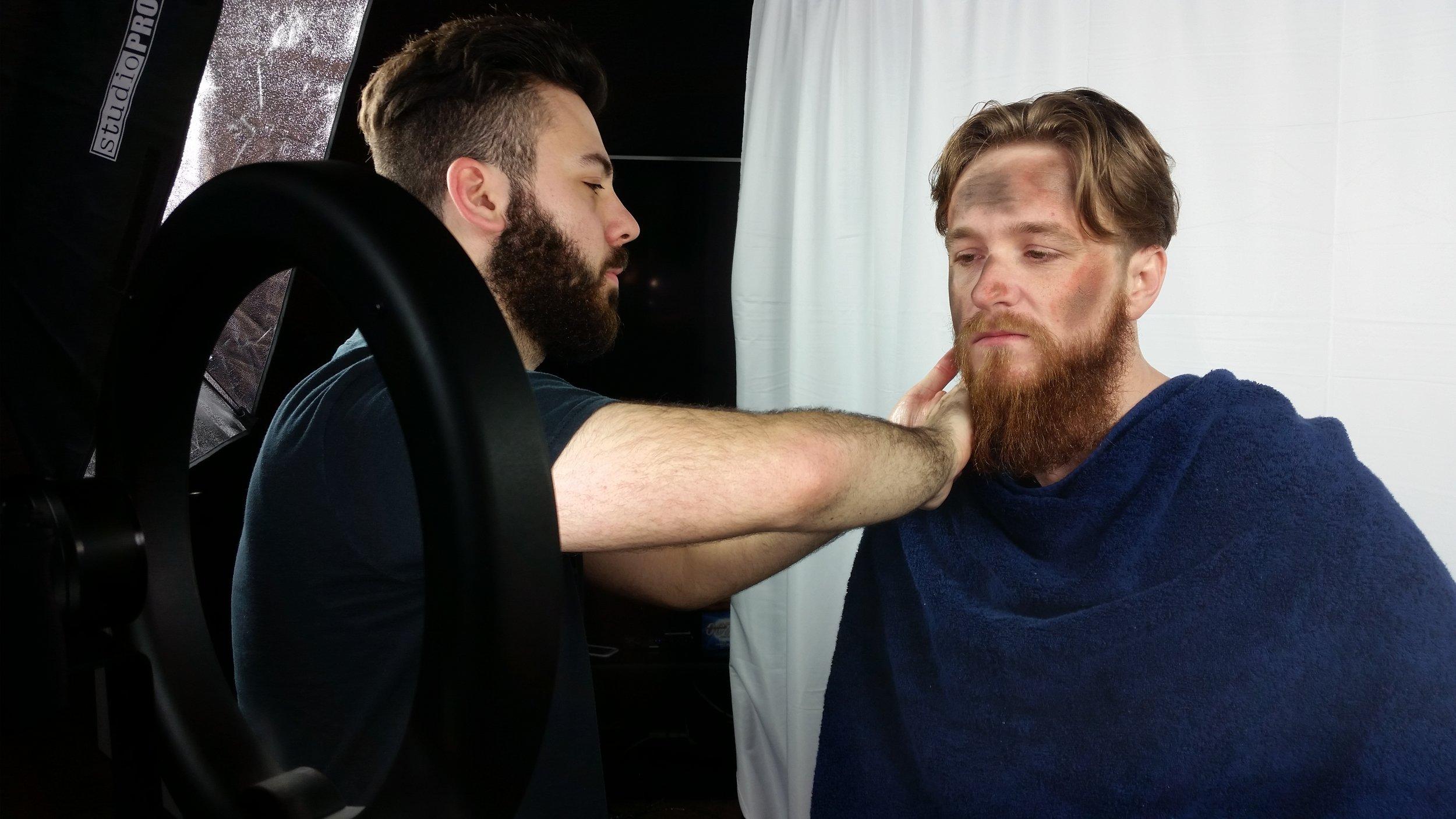 Preparing our model for the Bearded Brethren shoot.