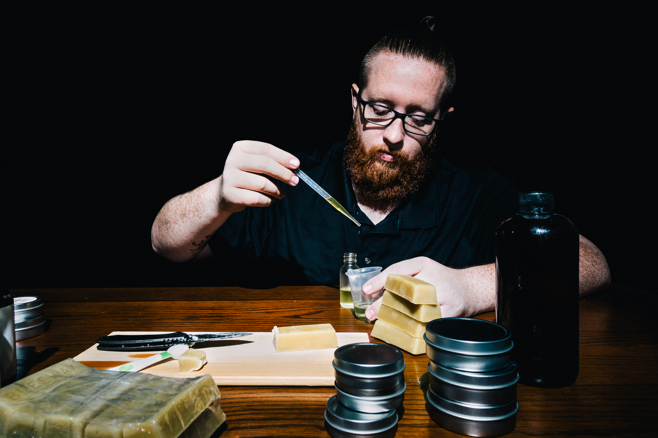 Mad Scientist: Andrew combined his love of working with glass bottles and liquids with his pursuit of the perfect beard care products.