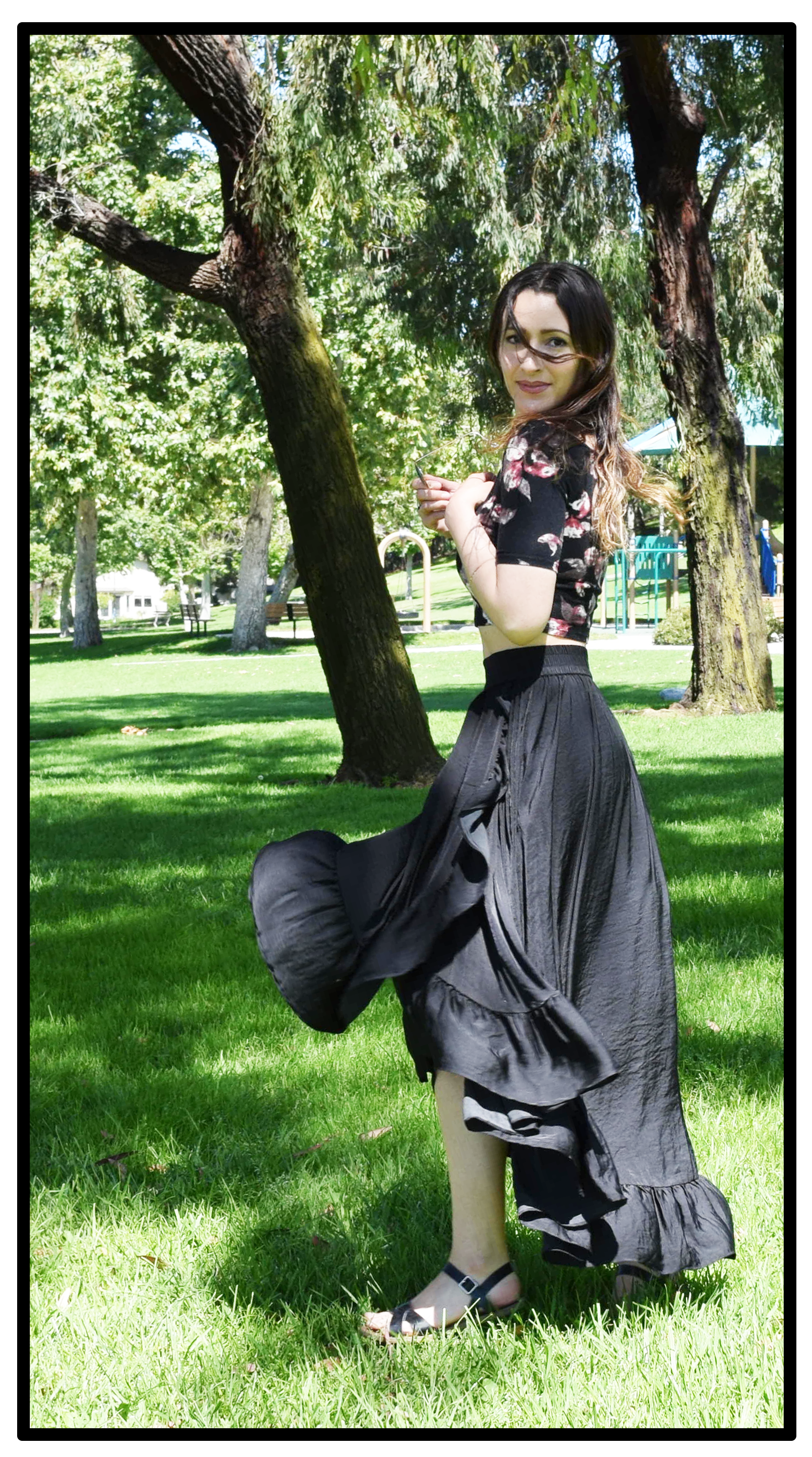 romantic.black.skirt-Maje.streetstyle