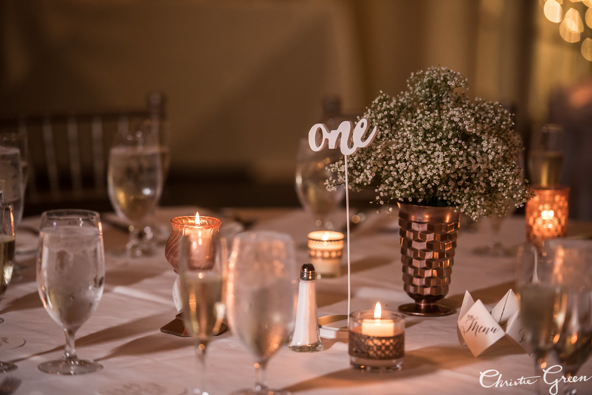 Sometimes baby's breath is just the right amount of florals for centerpieces.