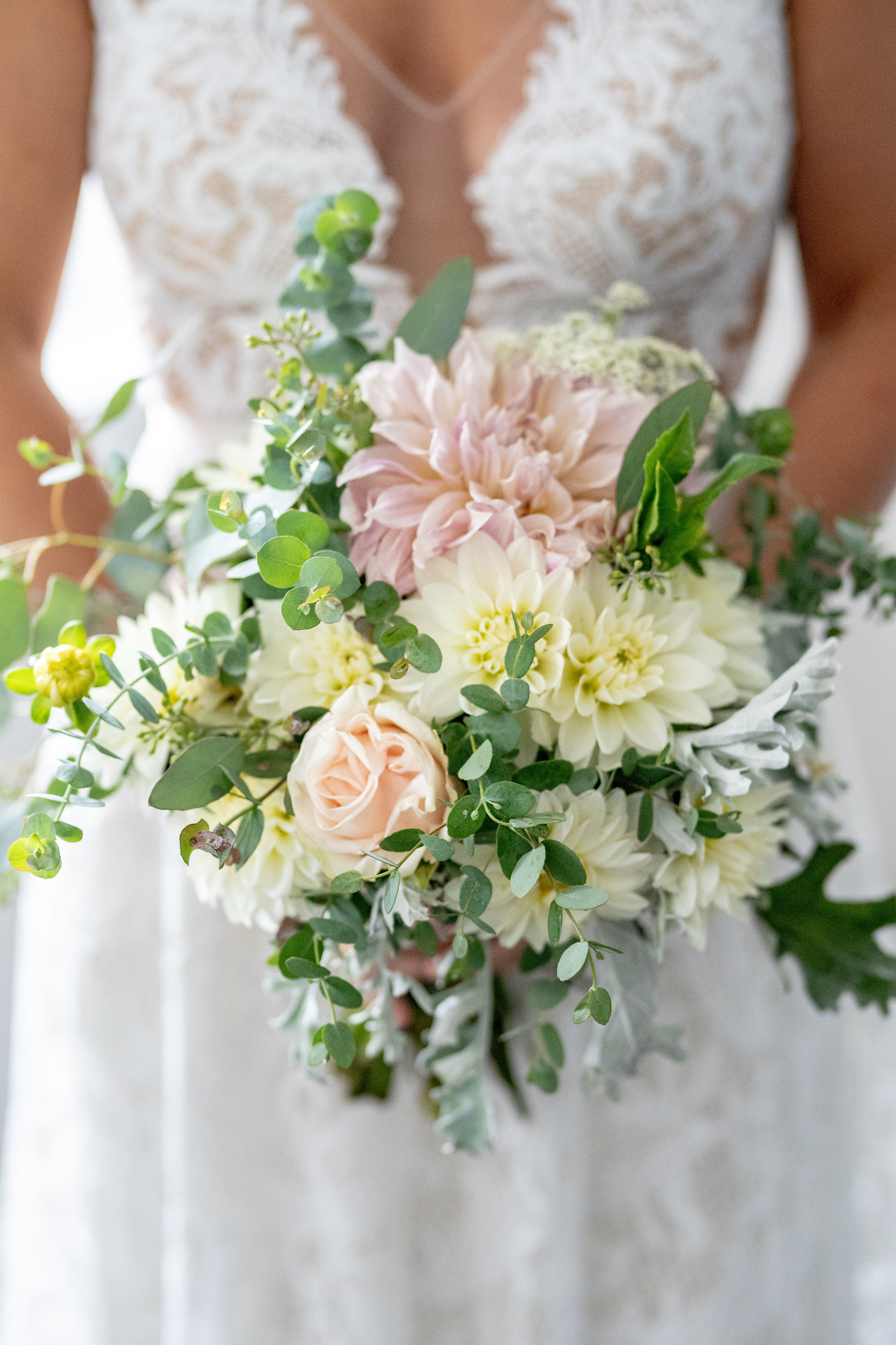 The Bridal Bouquet: Creamy white Dahlias with blush Cafe Au Lait Dahlias and Roses. Our own Silver Drop Eucalyptus and Dusty Miller with touches of Seeded Eucalyptus for greens and texture.