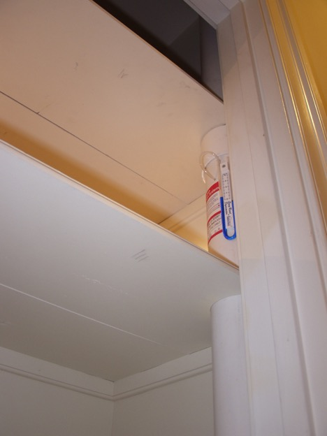 Then we find the best way to direct the vent pipe into the attic, this here is a closet.