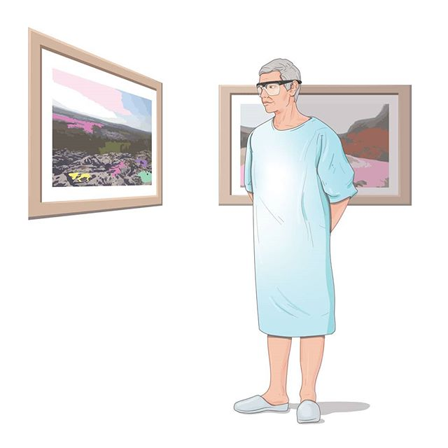 A little vector art! A simple illustration I created showing a patient participating in a study ATLAS is running. The patient is wearing eye tracking glasses and viewing art in a gallery as part of their post op treatment.  #bladdercancer #scicomm #sciart #research #illustration #illustrator #vector #healing #art #arttherapy #cancertreatment #medicalillustration