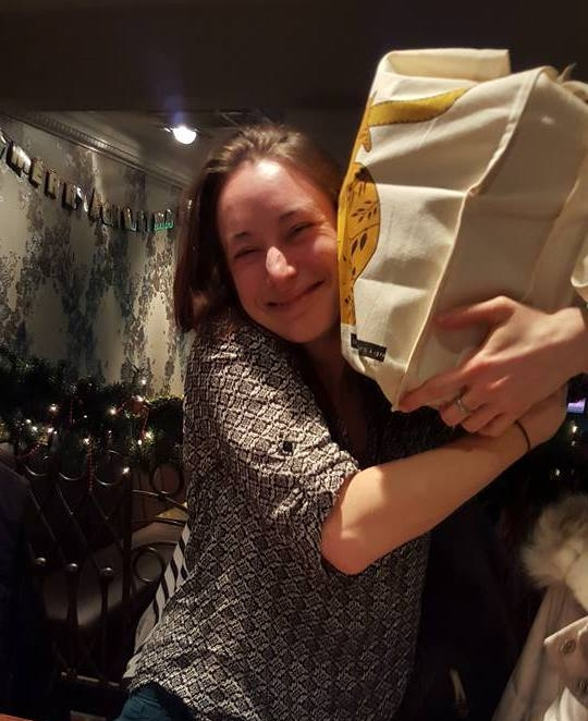I think Sarah liked her new Highland Cow bag!