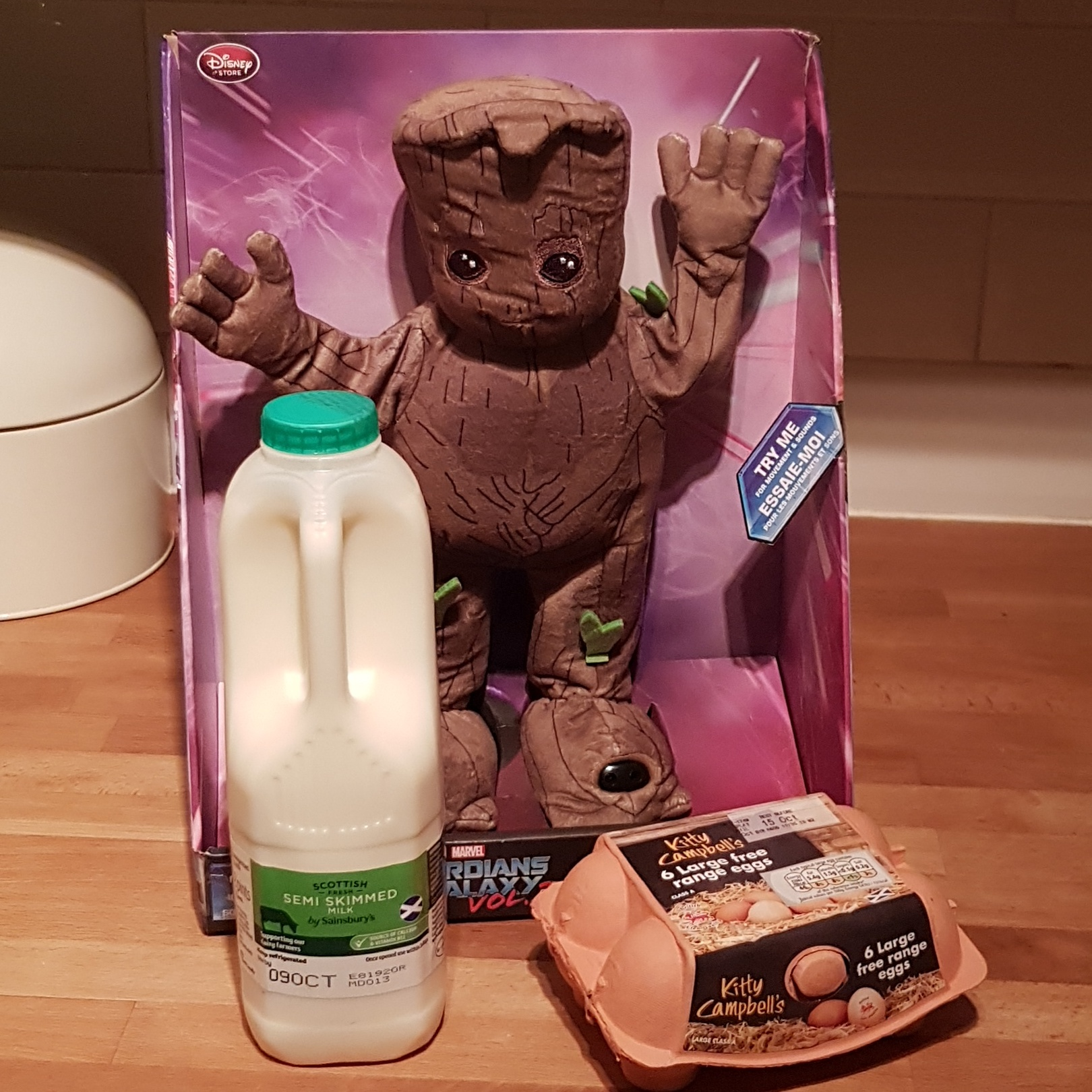 Milk, eggs and a dancing Groot. Not your standard get well gift but I LOVE it!