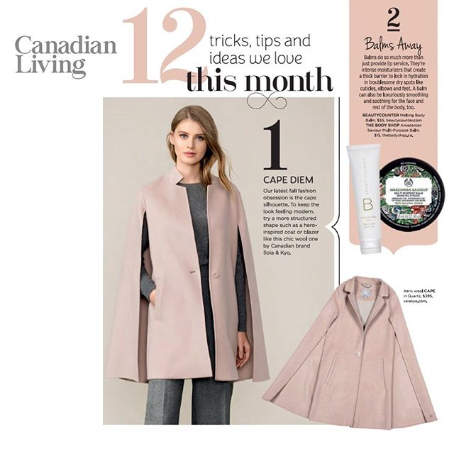 Our favourite season has arrived...COAT SEASON! Thanks to @canadianliving & @christinazisko for featuring @soiaandkyo in your delicious October issue!  #pr #mediarelations #creativeagency  #publicrelations  #shopcanadian  #coatseason  #capecoat