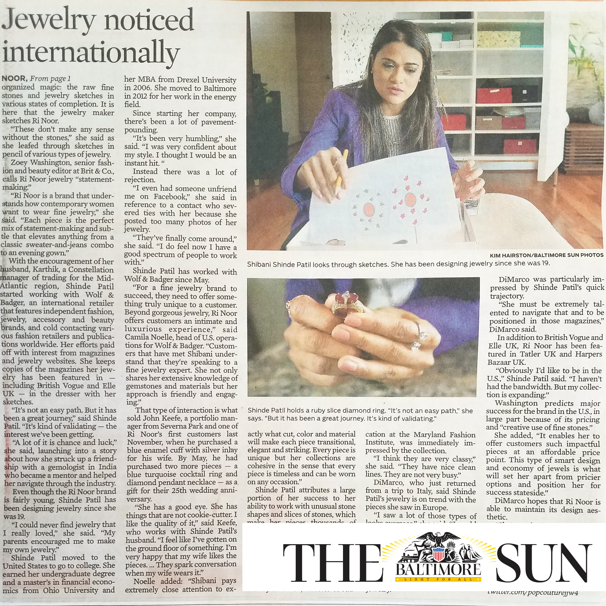 Cover story in the Baltimore Sun