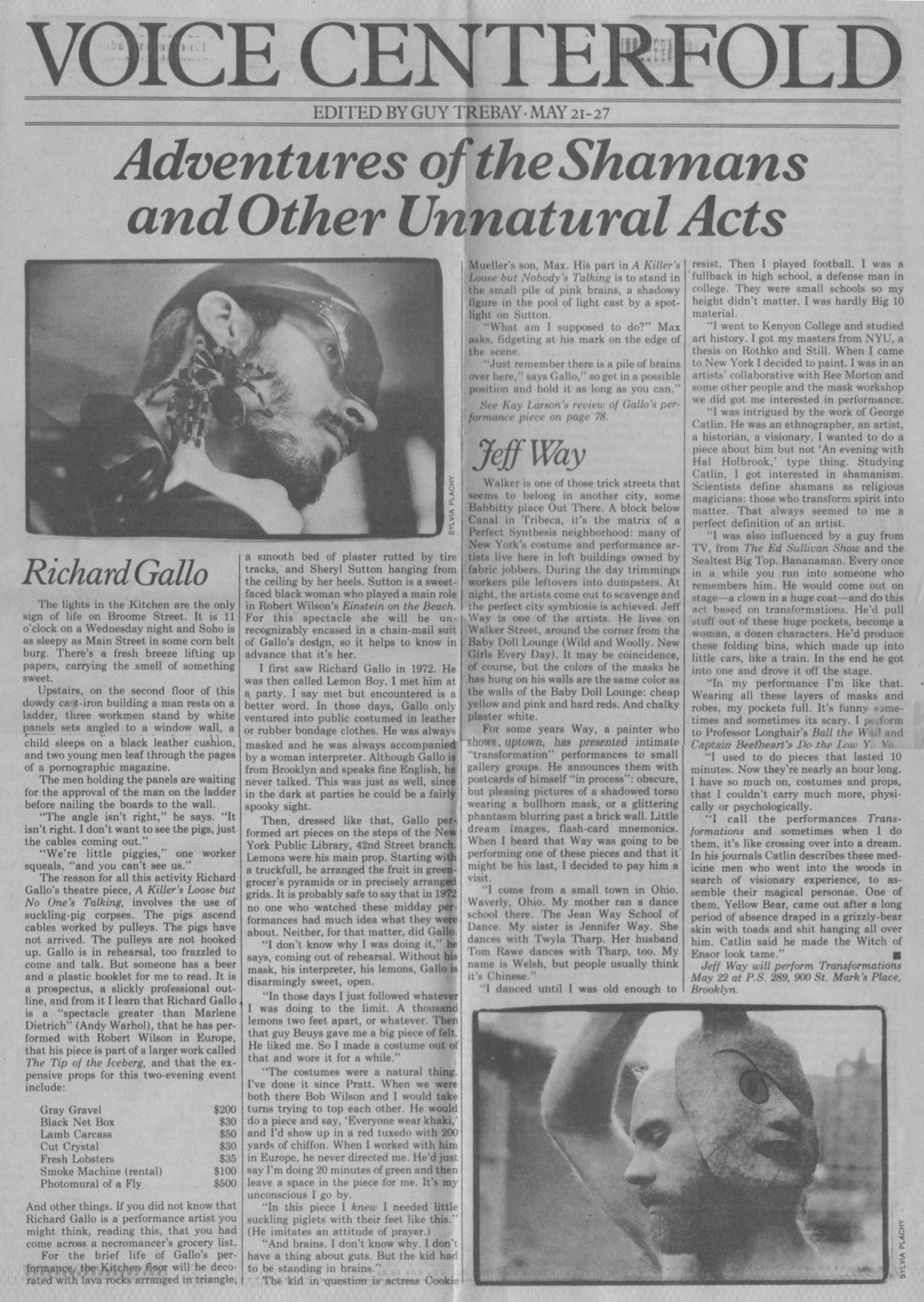 Adventures of the Shamans and Other Unnatural Acts, Trebay Guy, Village Voice, May 1980
