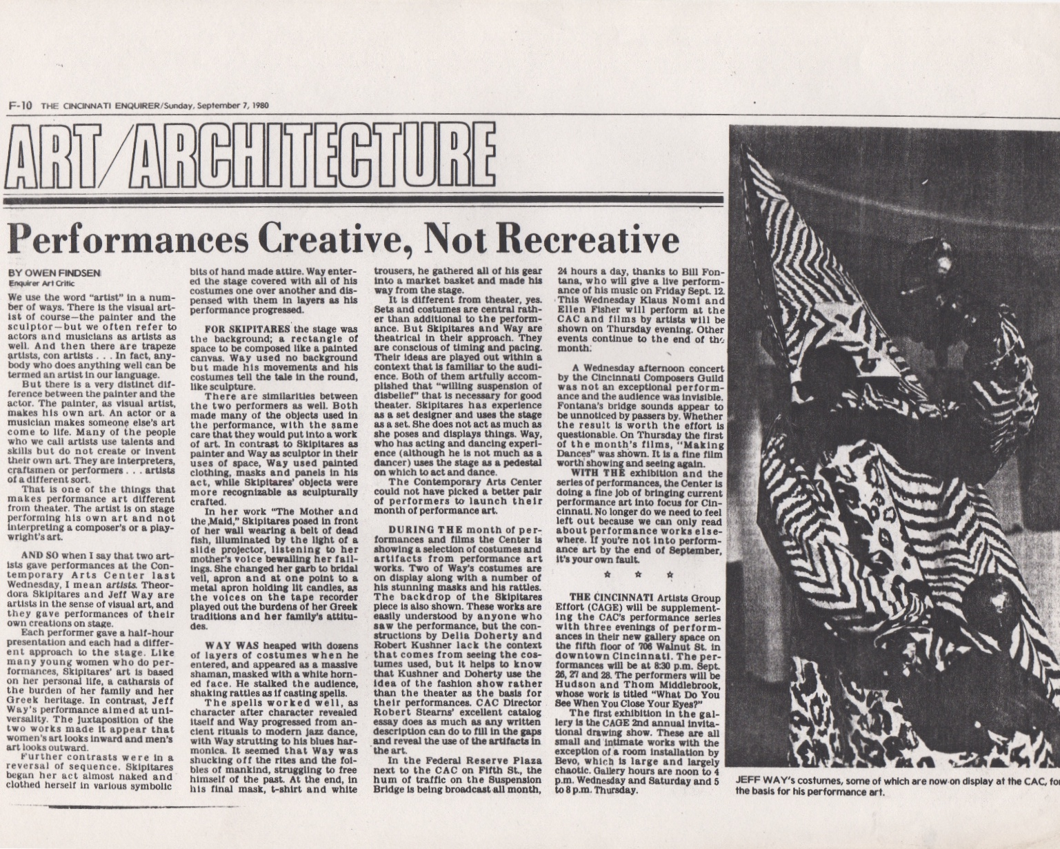 Performances Creative, Not Recreative, Findsen Owen, Cincinati Enquirer, September 1980
