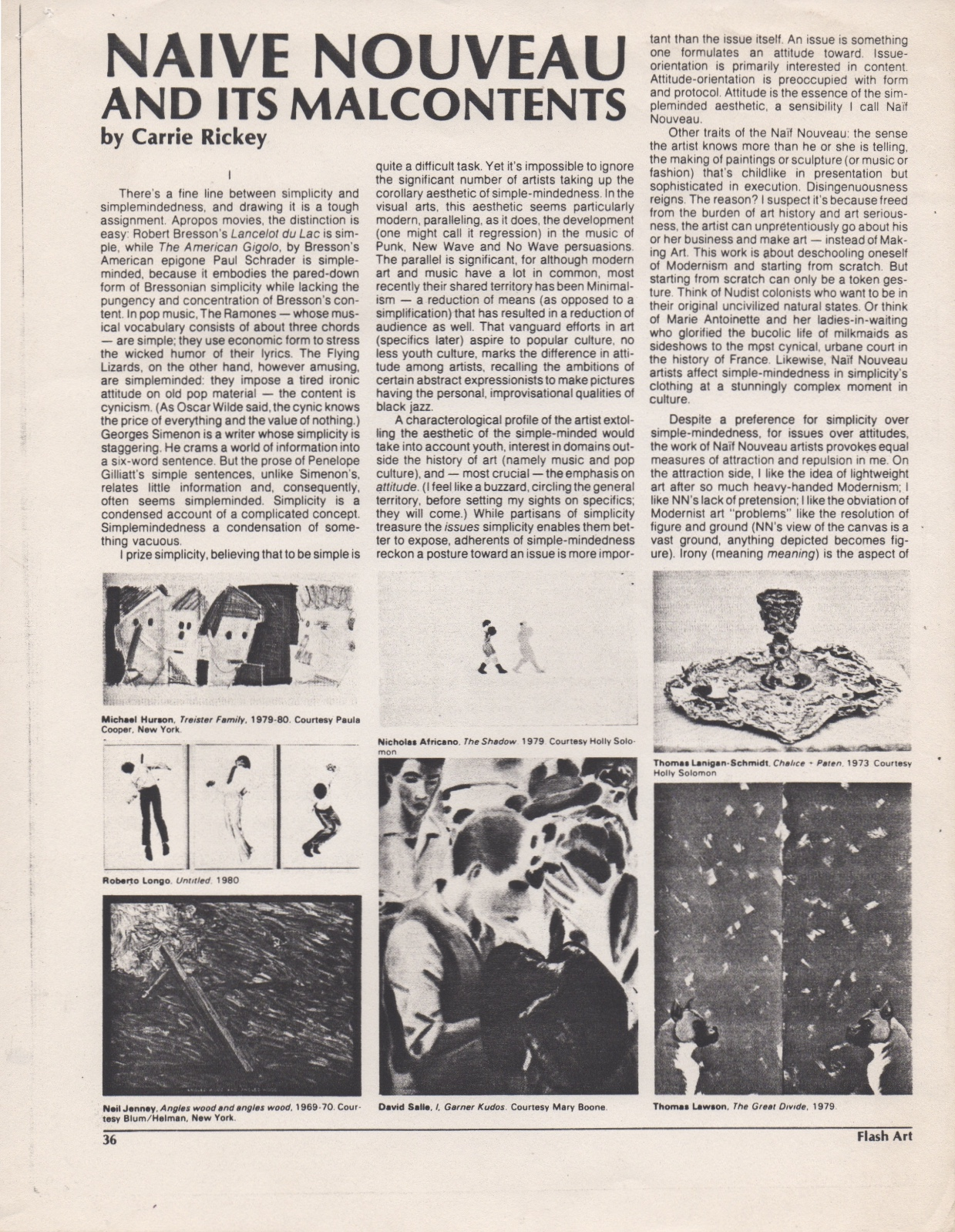 Naive Nouveau and its Malcontents, Rickey Carrie, Flash Arts, Summer 1980